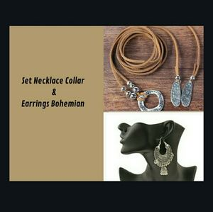 Set Necklace Collar  Leather  & Earrings BOHEMIAN